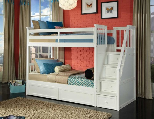 School House Stair Bunk Bed with Storage - White Finish