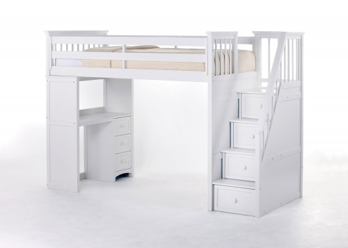School House Stair Loft Bed with Desk End - White
