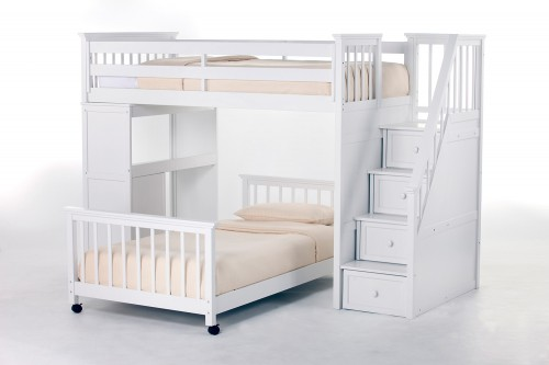 SchoolHouse Twin Stair Loft Bed with Desk End and Twin Lower Bed - White