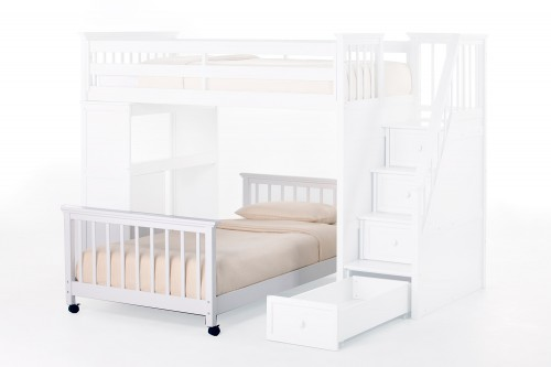 School House Full Lower Stair Bed - White